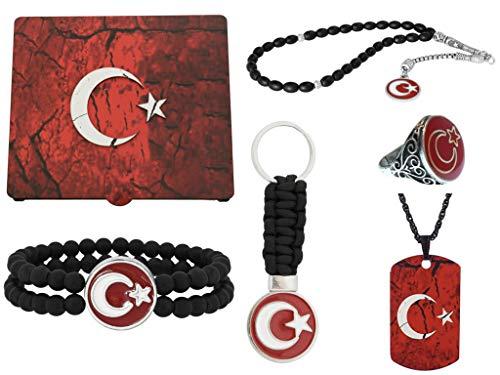 Handgemachte Geschenkbox 'Göktürk, Ay Yildiz' Türkische Flagge - Rot Gravur GRATIS: Set aus Halskette, Ring, Armband, Gebetskette - Tesbih, Schlüsselanhänger