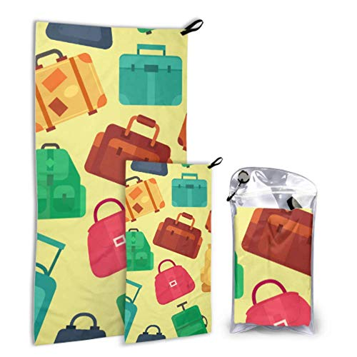 LICTshop Fashion Colorful Travel Luggage Bag 2 Pack Microfiber Women Beach Towel Beach Kids Towels Set Fast Drying Best for Gym Travel Backpacking Yoga Fitnes