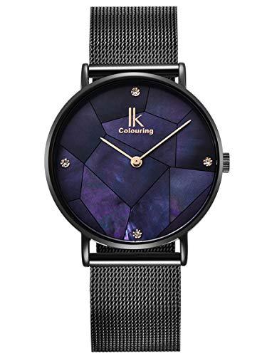Alienwork Armbanduhr Damen schwarz Metall Mesh Armband Edelstahl blau Perlmutt-Zifferblatt Ultra-flach Elegant