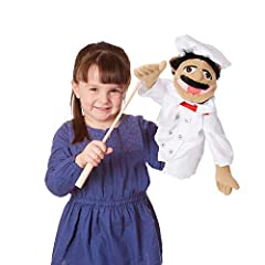 "FRIENDLY CHEF PUPPET: Melissa & Doug's hand puppet Chef Alfredo ""Al"" Dente is a friendly puppet wearing a white chef coat and hat with a red bandanna. Nicknamed ""Noodles,"" this hand puppet is easy to use and durable. LEFT OR RIGHT HAND USE: This pupp..."