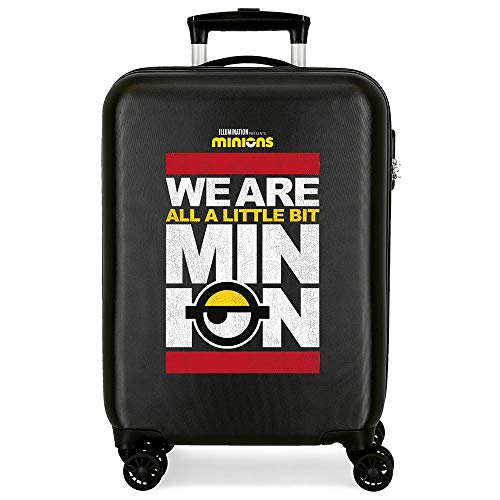 Joumma 2141721 – Minions We are A Minion Cabin Suitcase, 38 x 55 x 20 cm, Rigid ABS, Side Combination Lock, 34L, 2.7 kg, 4 Double Wheels, Hand Luggage, Black