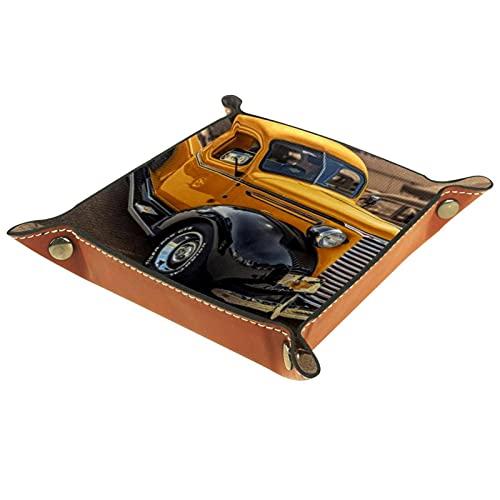 Bandeja de dados de metal para juegos de rol, DND y otros juegos de mesa, caja de almacenamiento de soporte de dados, tabla de protección, doble cara plegable Sqaure PU cuero amarillo antiguo camión