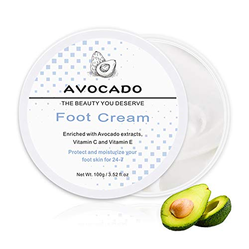 Foot Cream, Avocado Foot Moisturizing Cream Enriched with Vitamin C and Vitamin E, Best Callus Remover Lotion Moisturizes Thick, Rough, Dead Dry Skin For Dry Cracked Feet, Heels, Soles, Elbows Fragrance Free - 3.52 fl.oz