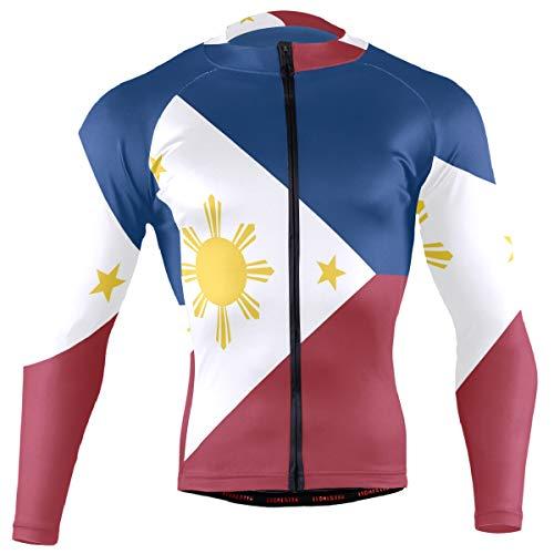 DerlonKaje Pinoy Filipino Flag Stars and Sun Men's Cycling Jersey Long Sleeve Breathable Biking Shirts Gear Style
