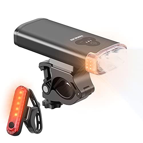 NINUO 2021 Neueste Fahrradleucht: 1800 Lumen USB wiederaufladbar Super Bright 3 LED Scheinwerfer mit Blinker, 5 Modus Rücklicht für alle Fahrräder, Straße, Berg, 5200 mAh Batterie - IPX6 wasserdicht