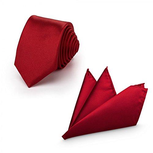 Rusty Bob - Krawatte mit Einstecktuch (in vielen Farben) - für die Verlobung, die Hochzeit - Schlips mit Taschentuch für das Sakko - 2er-Set - Magenta