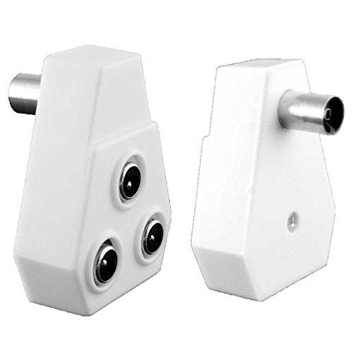 OcioDual TV Fernseher Antennen-Adapter Verteiler Splitter 1 Female -> 3 Male