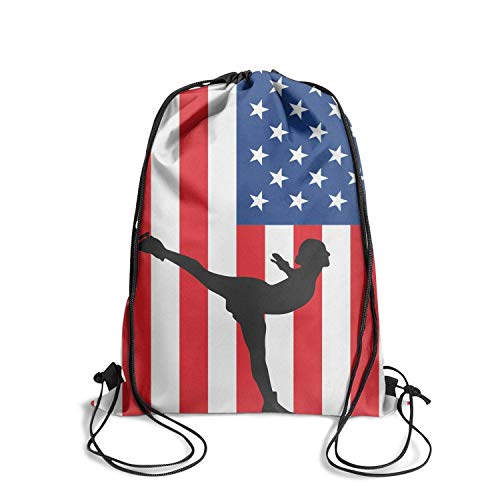 CBBYY Drawstring Hiking Backpack Us Flag Figure Skating Drawstring Backpack Sports Gym Bag for Women Men