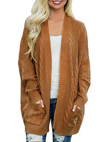 Doballa Damen Vorne öffnen Chunky Zopfstrick Twisted Cardigan Pullover Mantel mit Tasche, Tan, Gr.- M
