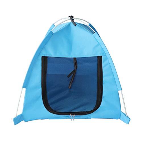 POPETPOP Tenda da Campeggio Estiva per Cani e Gatti Cuccia per Bambini Tenda Anti-zanzara Pieghevole (Blu)