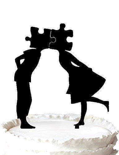 Tortenaufsatz für Hochzeitstorte, Motiv: Braut und Bräutigam, Puzzle