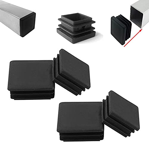 Zaky Pack of 4 Lamellar Plugs for Square Tubes 100 x 100 mm Black Square Plugs for Square Tube Square Tube