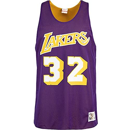 Mitchell & Ness Magic Johnson L.A. Lakers - Canotta reversibile, Lilla, XXL