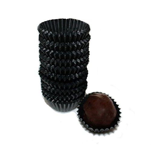 Glassine Chocolate Black Paper Candy Cups No.4-1''x3/4'' - Black - 200pcs