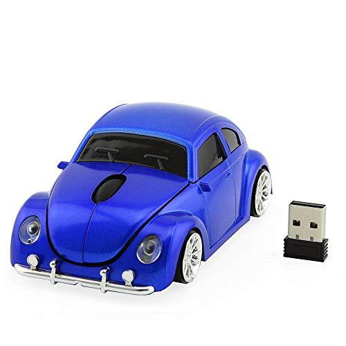 Winnes Mini Maus kabellos Wireless Mouse 2.4GHz Funkmaus Auto Style Maus Computer Maus ergonomisches Design Mini Mäuse mit USB Nano Empfänger Für PC Laptop iMac MacBook Microsoft Pro (Blau)