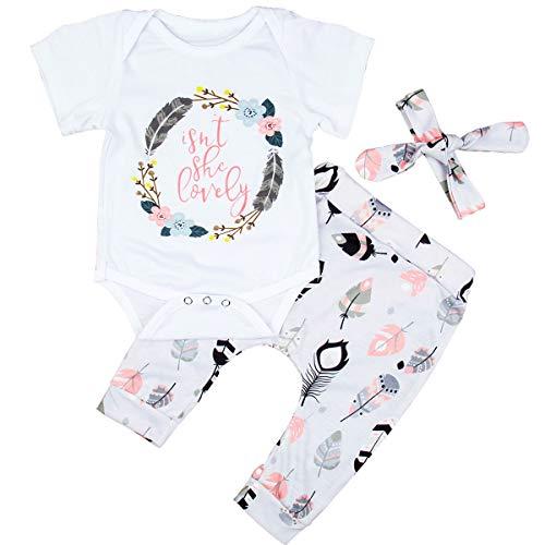 Tianhaik pasgeboren baby meisje Outfit pak zomer wit korte mouw brief bedrukt Romper+broek+hoofdband