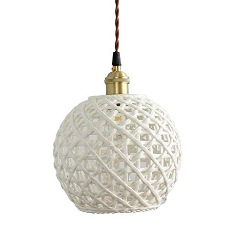 JYDQM Accesorio de luz Colgante de Enchufe de cerámica, lámpara de Techo Swag única con Cable Colgante e Interruptor de Encendido/Apagado Regulable para (Color : AS)