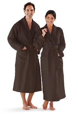 Boca Terry Women's and Men's Robe, Luxury Microfiber Bathrobe, One Size Fits All, XXL and XXXXL