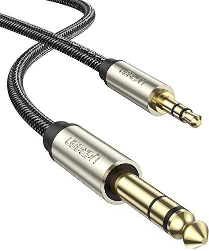 UGREEN 3.5mm Klinke auf 6.35mm Klinke Kabel Aux Adapter Stereo Audio Kabel Digital Interface Instrument Kabel Unterstützt für Gitarre, Mischpult, Mikrofon, Recorder, Mixer, Gitarre, Verstärker usw. (2M)