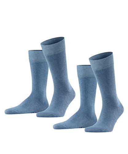 FALKE Herren Happy 2-Pack M SO Socken, Blickdicht, Blau (Light Denim 6660), 39-42 (2er Pack)