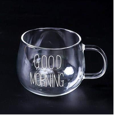 Cosmouk 400 ml de taza con un vaso de vidrio se puede utilizar como un desayuno resistente al calor taza de taza de té de taza de té café café café café jugo de café camping taza de té, etc.