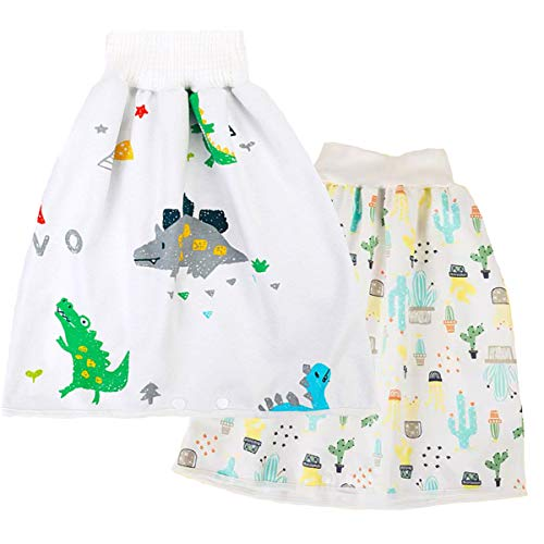 WGWJM 2 Pack 0-4T Potty Training Diaper Skirts for Baby Boys Cotton Water Proof Diaper Shorts for Potty Training Night Time Sleeping Bed Clothes Dinosaur+Cactus