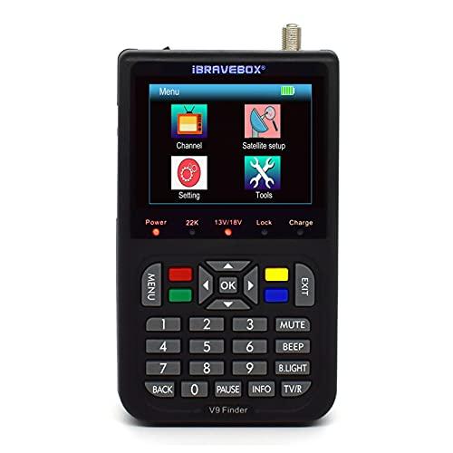 Buscador de señal satelital V9,Localizador satelite sat finder Pantalla Digital LCD de 3.5 Pulgadas Televisión Satelital Incluir 6000 Canales y 1 * 3000 mA Batería de Litio.