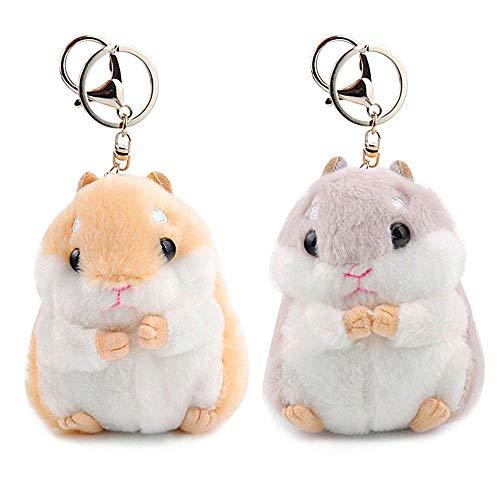 RAYNAG Set of 2 Cute Hamster Plush Keychain