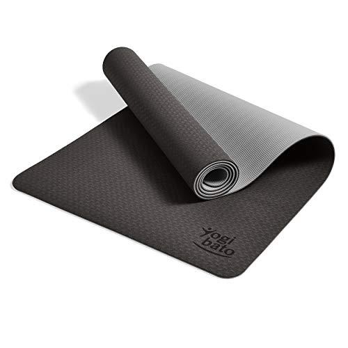 Yogibato Yogamatte Balance – rutschfeste Gymnastikmatte Sportmatte – Matte mit Tragegurt für Gymnastik Pilates Sport & Fitness – Non-Slip TPE Yoga Mat [183x61x0,6 cm] Schwarz-Platingrau