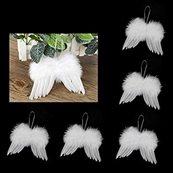 ORNOOU Angel Wing Ornament - Angel Feather Wings for Crafts 10 Pack White Mini Angel Wings DIY Christmas Tree Hanging Ornament Wedding Holiday Party Décor  7.9 x 5.9inch/20 x 15cm White
