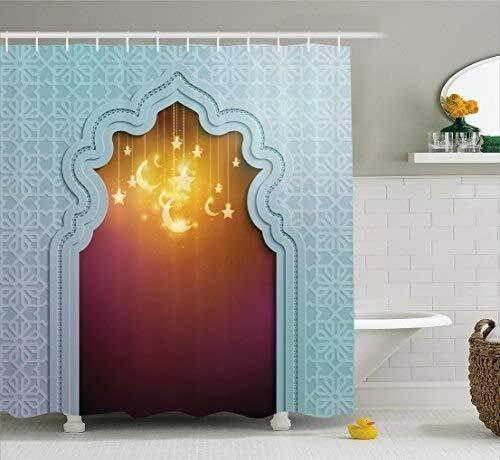 YCDtop Cortina de Ducha marroquí para Puerta con Estrella y Luna, Estilo artístico, Palabras árabes, diseño Oriental, Tela, decoración de baño, Juego con Ganchos 180x180cm (71x71in)
