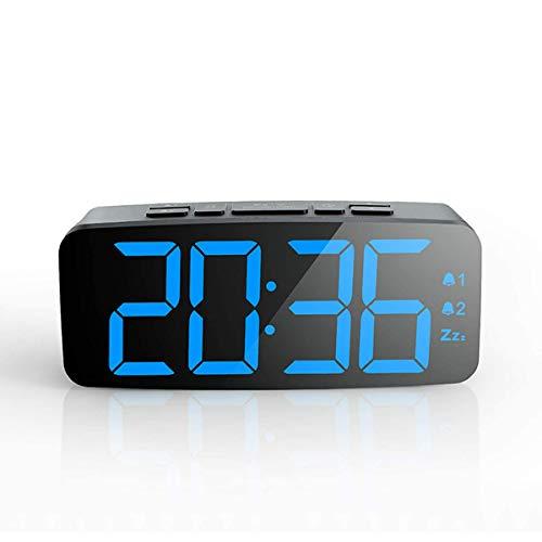 JKGHK Reloj Despertador Digital Pantalla LED Inteligente Grande Función de repetición Brillo Ajustable Pequeño y Ligero para la cabecera o la Cocina