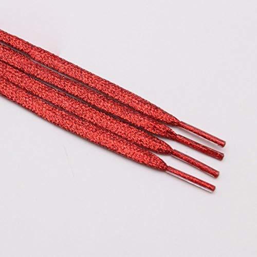BTKNOO Flat Glitter Schnürsenkel Shiny Fashion Sparkly Schnürsenkel Weihnachten Farben Chic Shimmering 7mm Metallic Bootlaces, 2355 Rot, 100cm