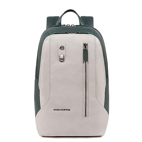 PIQUADRO Zaino CA4985S104/GRVE porta pc 14' grigio e verde linea HAKONE 27.5x39x15 cm tasca per Connequ
