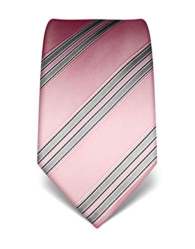 Vincenzo Boretti Herren Krawatte reine Seide gestreift edel Männer-Design zum Hemd mit Anzug für Business Hochzeit 8 cm schmal/breit rosa