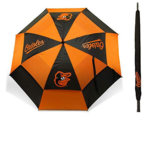 "Team Golf MLB Baltimore Orioles 62"" Golf Umbrella with Protective Sheath, Double Canopy Wind Protection Design, Auto Open Button"