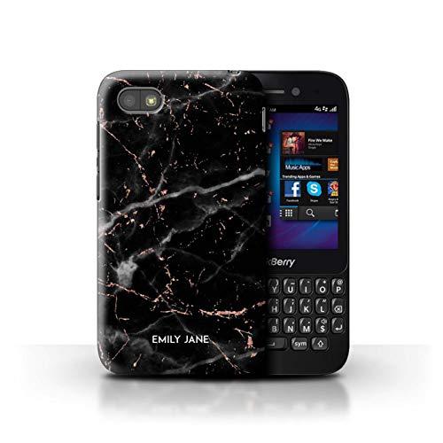 Personalisiert Individuell Roségold Glitter Marmor Hülle für BlackBerry Q5 / Schwarzer Marmor Glitter Stempel Design/Initiale/Name/Text Schutzhülle/Case/Etui