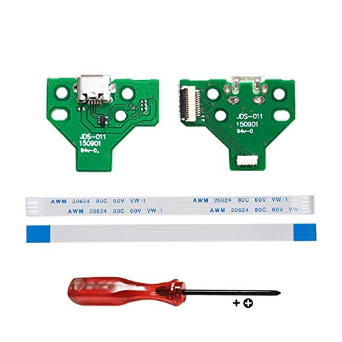 Rinbers Pack of 2 JDS-011 Replacement Charging Port Micro USB Adaptor Charger Socket Circuit Board with 12 Pin Flex Cable for Sony PS4 2nd Gen DualShock 4 Controller