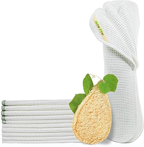 Miw Piw Reusable Unpaper Towels Set 20 & 1 Natural Loofah Sponges, Highly Absorbent Washable Paperless Recycled Organic Cotton Napkins Bamboo Bathroom Roll Cleaning Cloths Eco Friendly Zero Waste Loofah Set