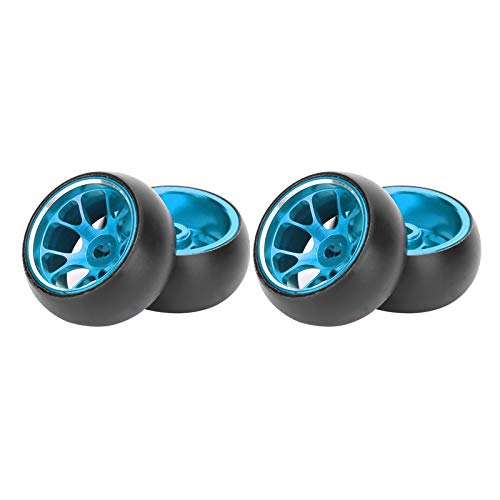 Neumáticos de deriva de coche RC, 4 piezas / juego 1/28 Neumáticos de cubo de rueda de metal para coche RC Reemplazo de neumáticos de deriva de coche RC para coche Wltoys K969 1/28 RC(azul)