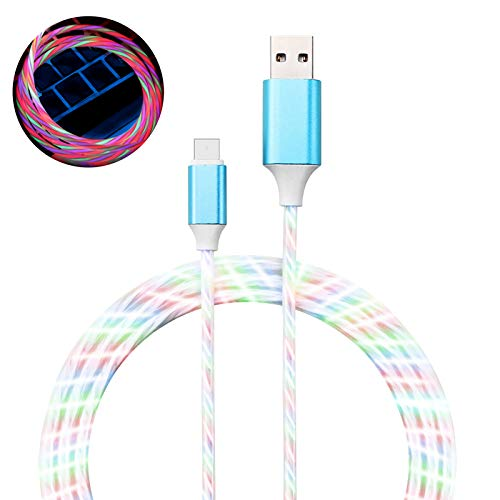 LED Charging Cable,KORABA 6FT Light UP USB Charger Cord with Color Changing Flowing Lights (Color Change Light)