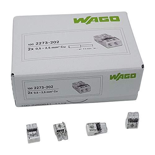 100 Stück Wago 2273-202 COMPACT-Verbindungsdosenklemme Ø 0,5-2,5 mm², 2-polig, transparent/weiß