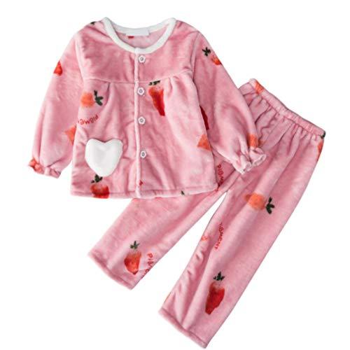 DEBAIJIA Bebé Ropa de Casa 2-12T Infantil Homewear Niños Pijama Niña Ropa de Dormir Niño Camisones Invierno Franela Calentar (Rosa-130)