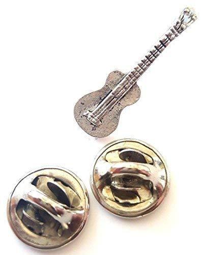 Spanische Gitarre handgefertigt in massivem Zinn in Großbritannien Anstecknadel + 59mm Button + Geschenk Tüte
