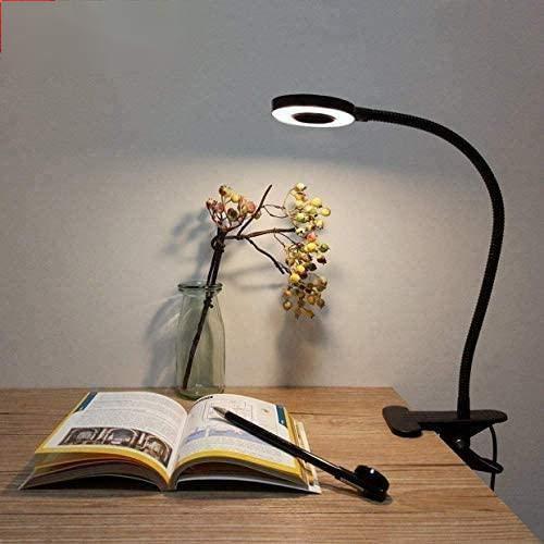 Lampade con Pinza, Lypumso LED Luce da Scrivania con Clip di Protezione per gli Occhi, 2 Modalità Regolabili, Bianco Freddo/Caldo, Collo Flessibile a 360 °, Risparmio Energetico (black)