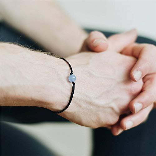 CHCO Pulsera tejida a mano pulsera para los hombres de la moda de piedra natural trenzada cuerda de una sola capa pulsera para los hombres pulsera de joyería regalo