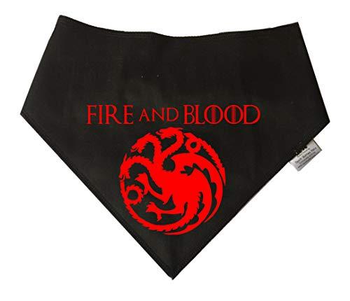 Spoilt rode pets hondenhalsdoek, motief Game of Thrones Targaryen of Dragonstone, maat M, zwart hondenhalsdoek Draak, geschikt voor gouden Retrievers, Dalmatiner, Labrador en Staffie, meerkleurig