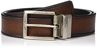 Perry Ellis Men's Portfolio Beveled Reversible Casual Belt, Brown, 36