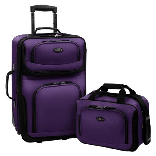 U.S. Traveler Rio Rugged Fabric Expandable Carry-On Luggage Set, Purple