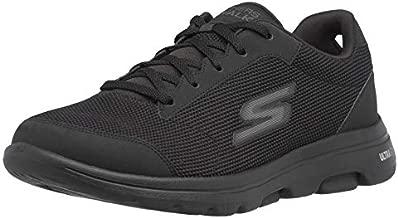 Skechers Men's Gowalk 5 Demitasse-Textured Knit Lace Up Performance Walking Shoe Sneaker, Black, 12